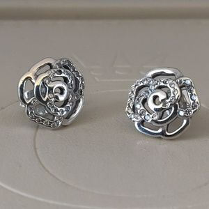 Pandora Shimmering Rose Clear CZ Earrings